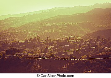 Hollywood Hills Panorama - Hazy Los Angeles Area in Hot...