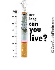 cigarro, queimado, BAIXO, Alvo, texto, branca, fundo