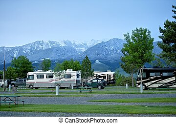 RV Park in Montana Recreation Vehicles in the RV Park...