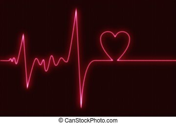 Cardiogram Heart Beat Abstract Illustration with Heart...