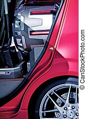Insane Subwoofer Inside Compact Car - Closeup Photo. Car...