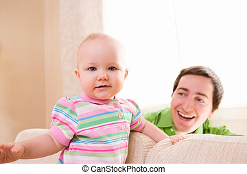 Home Lifestyle Family - Lifestyle photo of father and baby...