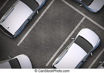 Free Parking Spot Between Other Cars. Top View. Urban...