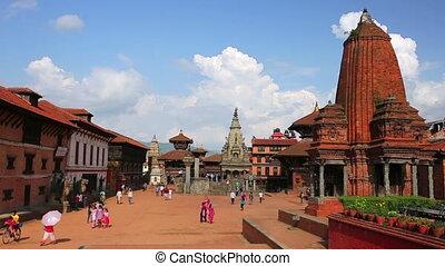 bhaktapur Durbar Square, Kathmandu, Nepal, timelapse