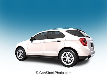 SUV Car 3D Illustration Side Read View - White-Blue...