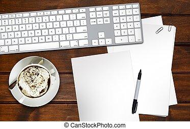 Designer Desk. Old Wooden Desk, Computer Keyboard, Blank...