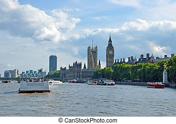 London Thames River and Big Ben Tower London, United...