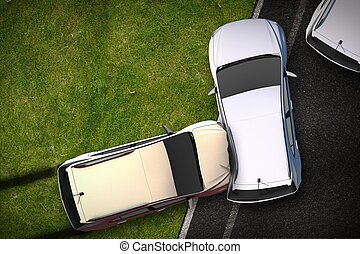 Cars Crash Illustration - Bird View (Top View) DUI Theme....