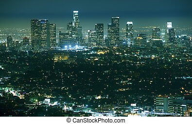 Los Angeles Night Panorama - Cityscape After Dark. City...