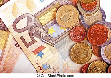 Euro Bills and Coins - Euro Currency Bills and Coins Closeup...