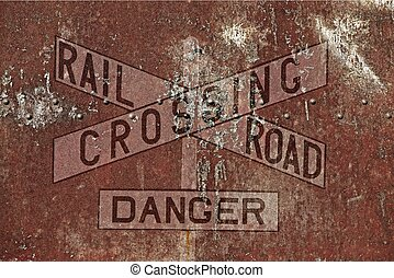 Vintage Railroad Background Aged and Rusty Railroad Crossing...