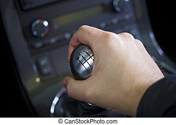 Driving Stick Shift - Hand on the Stick. Manual Car...