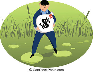 Investor on shaky ground - Man carrying a money bag with a...