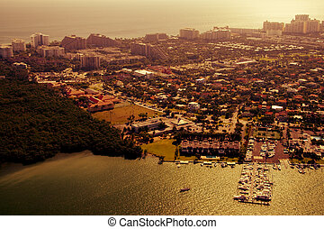 Golden afternoon in Miami - Aerial shot of Miami on a golden...