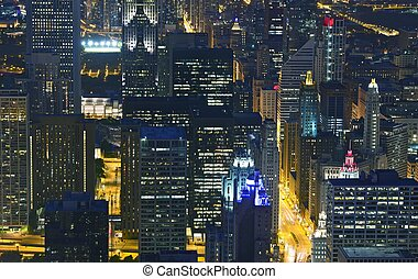 Night Life Chicago Skyline. Night Scenery from Bird Eye...
