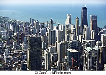 Chicago Downtown Bird Eye View. Hancock Tower on Right and...