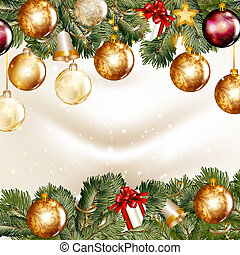 Cute vintage vector card with Christmas tree branches for...