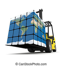 Global logistics - Concept of global transportation, modern...