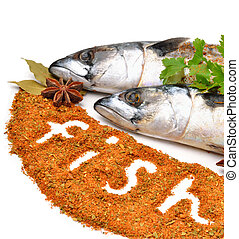 Fresh mackerel fish with parsleyand spices isolated on white