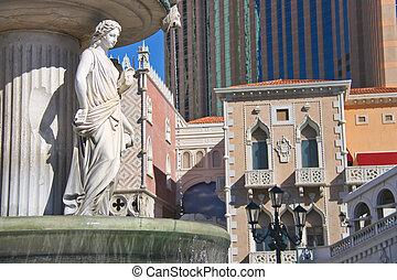 Italian-style fountain near  Venetian  Hotel  in Las Vegas