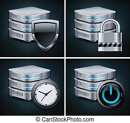 Database icons concept, isolated on black, vector...