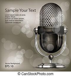 Retro microphone - Metallic retro microphone on vintage...