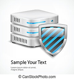 Database protection concept, isolated on white, vector...