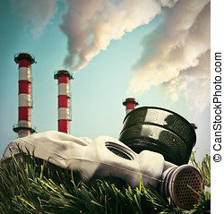 Smoking chimneys polluting the environment of the planet...