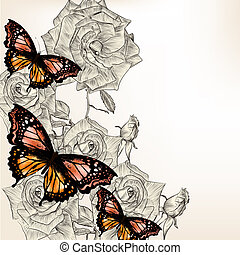 Floral design with hand drawn roses and butterflies - Floral...