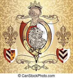 Heraldic design with lion and knigh - Vector heraldic...