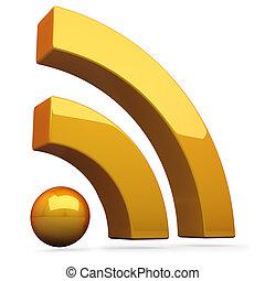 3D orange RSS symbol isolated on white background.