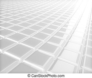 Abstract 3D embossed white checkered surface background.