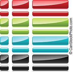 Color plastic rectangular buttons for web design.