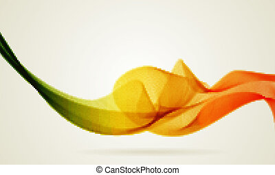 Green and yellow smoky wave vector background with copy...