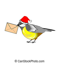 A Christmas titmouse with a letter in its beak. Vector-art...