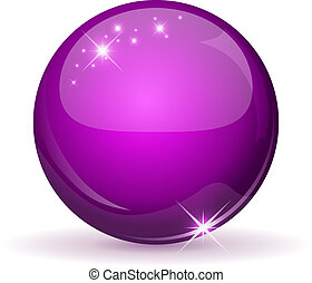 Magenta glossy sphere isolated on white.