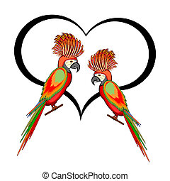 A couple of macaw parrots with a heart. Vector-art...
