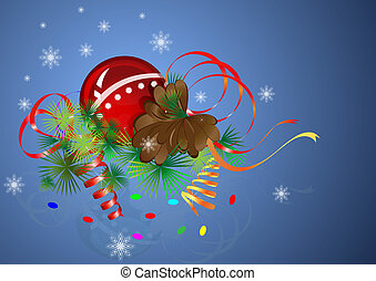 Christmas composition greeting card with blue background.