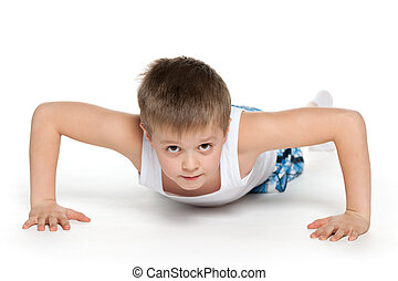 Training of a little athletic boy