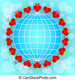 Cartoon red hearts circle around globe.
