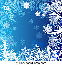 Blue winter background with frost ornament.