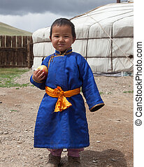 Mongolian boy in traditional national dress