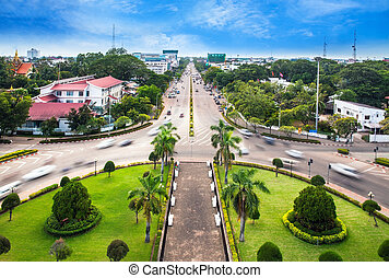 Urban City Skyline, Vientiane, Laos - View from the top of...