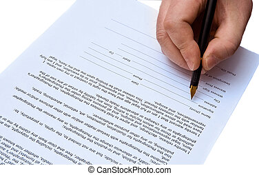 sign a document - signature on agreement isolated over white