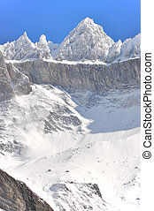 Snow-slide, olmo, región, suiza