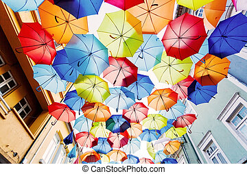 Street decorated with colored umbrellasAgueda, Portugal
