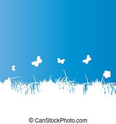 Flower and grass banner. vector illustration