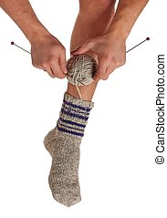 Knitted socks - Warm sock the man knits without removing...