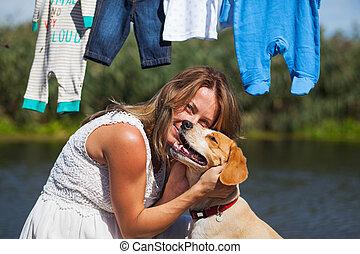 mulher, dela, CÙte, brincalhão, cão