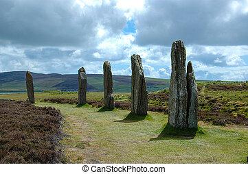el, anillo, Brodgar, -, posición, piedras, -, Orkney,...
